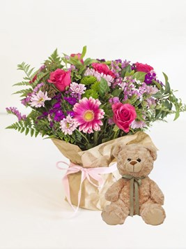 Arrangements: Happy Posy with Small Teddy